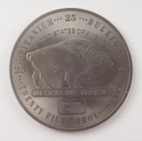25 Troy oz .999 Fine Titanium Buffalo Bullion Round at PristineAuction.com
