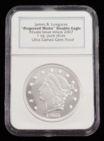 """1865 James B. Longacre """"Proposed Motto"""" Double Eagle Private Issue Struck 2007 (NGC Ultra Cameo Gem Proof) at PristineAuction.com"""