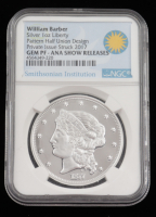 William Barber Silver 1 Ounce Pattern Half Union Design Private Issue Struck 2017 (NGC GEM PF) at PristineAuction.com