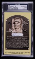 Ken Griffey Jr. Signed Gold Hall of Fame Plaque Postcard Cut (PSA Encapsulated) at PristineAuction.com