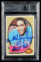 "Orenthal James Simpson Signed 1970 Topps #90 RC Inscribed ""O.J."" & ""HOF 85"" (BGS Encapsulated) at PristineAuction.com"