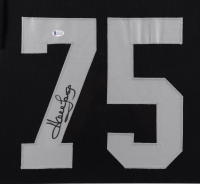Howie Long Signed 35x43 Custom Framed Jersey Display (Beckett COA) at PristineAuction.com
