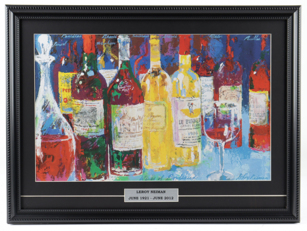 """LeRoy Neiman """"French Wines"""" 17x23 Custom Framed Print Display at PristineAuction.com"""