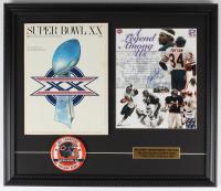 Walter Payton Signed Bears 17x21 Custom Framed Photo Display with Super Bowl XX Magazine & Bears Pin (PSA LOA) at PristineAuction.com