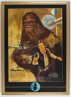 """Star Wars"" 22x30 Custom Framed 1977 Original Coca Cola Promotion Poster Display with Original 1977 Character Lapel Pin at PristineAuction.com"
