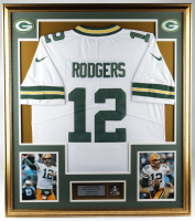 Aaron Rodgers 32x36 Custom Framed Jersey Display with Super Bowl XLV Pin at PristineAuction.com