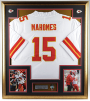 Patrick Mahomes 32x36 Custom Framed Jersey Display with Super Bowl LIV Pin at PristineAuction.com