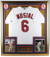 Stan Musial Signed 32x36 Custom Framed Jersey Display with 1944 World Series Pin (PSA Hologram) at PristineAuction.com