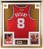Kobe Bryant 32x36 Custom Framed Jersey Display with 2001 All-Star Game Pin at PristineAuction.com