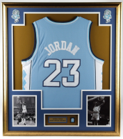 Michael Jordan 32x36 Custom Framed Jersey Display with Jordan Jersey Pin at PristineAuction.com