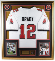 Tom Brady Buccaneers 32x36 Custom Framed Jersey Display with Buccaneers Pin at PristineAuction.com