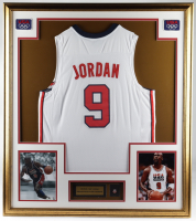 Michael Jordan 32x36 Custom Framed Jersey Display with USA Basketball Pin at PristineAuction.com