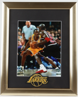 Michael Jordan & Kobe Bryant 13x16 Custom Framed Photo Display with Lakers Cloth Patch (See Description) at PristineAuction.com
