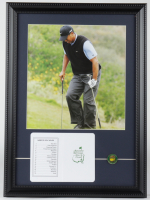 """Tiger Woods """"The Masters"""" 13.75x18.75 Custom Framed Photo Display with Masters Tournament Masters Pin & Scorecard at PristineAuction.com"""