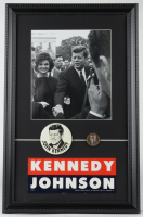 John F. Kennedy 12.75x19.75 Custom Framed Vintage 1960's Presidential Lithograph Display with 1960's Campaign Pin, Bumper Sticker & Kennedy Coin at PristineAuction.com