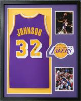 Magic Johnson Signed 34x42 Custom Framed Jersey (Beckett COA) at PristineAuction.com
