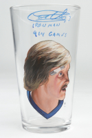 """Garry Unger Signed Custom Painted Glass Cup Inscribed """"Ironman"""" & """"914 Games"""" (PSA COA) at PristineAuction.com"""