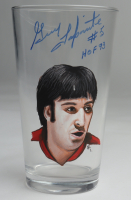 """Guy Lapointe Signed Custom Painted Glass Cup Inscribed """"HOF 93"""" (PSA COA) (See Description) at PristineAuction.com"""