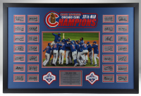 Cubs 2016 World Series Champions 26x39 Custom Framed Facsimile Display with Javier Baez, Anthony Rizzo, Kris Bryant at PristineAuction.com