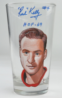 """Red Kelly Signed Custom Painted Glass Cup Inscribed """"HOF-69"""" (PSA COA) at PristineAuction.com"""