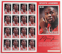 """Uncut Full Sheet of (16) Michael Jordan Bulls """"Sports Legends"""" Saint Vincent and the Grenadines Postage Stamps at PristineAuction.com"""