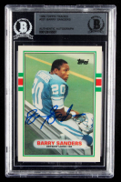 Barry Sanders Signed 1989 Topps Traded #83T RC (BGS Encapsulated) at PristineAuction.com