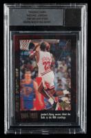 Michael Jordan 1999 Upper Deck Michael Jordan Career #18 with Game-Used Shirt Cut (BGS Encapsulated) at PristineAuction.com