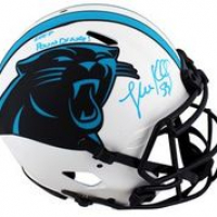 """Luke Kuechly Signed Panthers Full-Size Authentic On-Field Lunar Eclipse Alternate Speed Helmet Inscribed """"Keep Pounding!"""" (Beckett Hologram) at PristineAuction.com"""