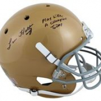 "Lou Holtz Signed Notre Dame Fighting Irish Full-Size Helmet Inscribed ""Play Like A Champion Today"" (Beckett Hologram) at PristineAuction.com"