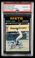 "Nolan Ryan Signed 1971 Topps #513 Inscribed ""324 Wins"", ""5,714 Ks"", & ""7 No Hitters"" (PSA Encapsulated) at PristineAuction.com"