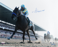 Victor Espinoza Signed 16x20 Photo with Belmont Stakes Program & Ticket (Steiner Hologram) at PristineAuction.com