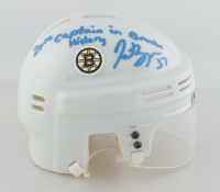 """Patrice Bergeron Signed Bruins Mini Helmet Inscribed """"20th Captain in Bruins History"""" (Bergeron COA & YSMS Hologram) at PristineAuction.com"""
