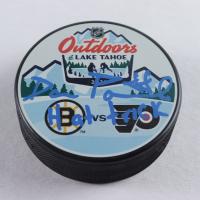 "David Pastrnak Signed Bruins 2021 Lake Tahoe Logo Hockey Puck Inscribed ""Hat Trick"" (Pastrnak Hologram) at PristineAuction.com"