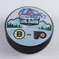 Patrice Bergeron Signed Bruins 2021 Lake Tahoe Logo Hockey Puck (Bergeron COA) at PristineAuction.com