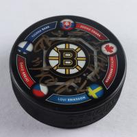 2014 Olympics Bruins Logo LE Hockey Puck Team-Signed by (5) with Patrice Bergeron, David Krejci, Loui Eriksson, Tuukka Rask, & Zdeno Chara (Bergeron Hologram, Krejci COA, Eriksson COA, Rusk COA, & Chara Hologram) at PristineAuction.com