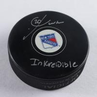 "Chris Kreider Signed Rangers Logo Hockey Puck Inscribed ""Inkreidible"" (Kreider COA) at PristineAuction.com"