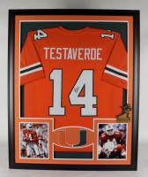 Vinny Testaverde Signed 35x43 Custom Framed Jersey Display (JSA COA) at PristineAuction.com