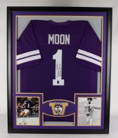 """Warren Moon Signed 35x43 Custom Framed Jersey Display Inscribed """"Rose Bowl M.V.P."""" (Moon Hologram) at PristineAuction.com"""