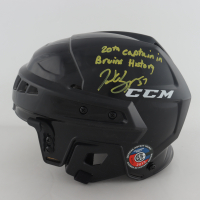 """Patrice Bergeron Signed Full-Size Hockey Helmet Inscribed """"20th Captain in Bruin History"""" (Bergeron COA) at PristineAuction.com"""