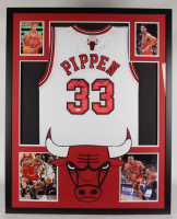 Scottie Pippen Signed 35x43 Custom Framed Jersey Display (JSA COA) at PristineAuction.com
