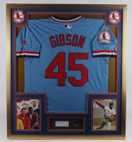 Bob Gibson Signed Cardinals 32x36 Custom Framed Cut Display with Jersey & World Series Champions Lapel Pin (PSA COA) (See Description) at PristineAuction.com