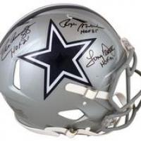 "Roger Staubach, Tony Dorsett & Drew Pearson Signed Cowboys Full-Size Authentic On-Field Speed Helmet Inscribed ""HOF 85"", ""HOF 21"" & ""HOF 99"" (Beckett Hologram) at PristineAuction.com"