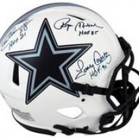 "Roger Staubach, Tony Dorsett & Drew Pearson Signed Cowboys Full-Size Authentic On-Field Lunar Eclipse Alternate Speed Helmet Inscribed ""HOF 85"", ""HOF 21"" & ""HOF 99"" (Beckett Hologram) at PristineAuction.com"