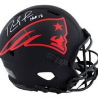"""Randy Moss Signed Patriots Full-Size Authentic On-Field Eclipse Alternate Speed Helmet Inscribed """"HOF 18"""" (Beckett Hologram) at PristineAuction.com"""