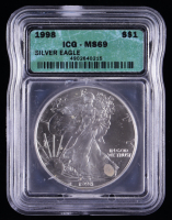 1998 American Silver Eagle $1 One Dollar Coin (ICG MS69) at PristineAuction.com