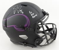 """Justin Jefferson Signed Vikings Full-Size Eclipse Alternate Speed Helmet Inscribed """"Rk Rec Record"""" (Beckett COA) at PristineAuction.com"""