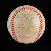 """1979 Yankees OAL Baseball Team-Signed by (25) with Yogi Berra, Billy Martin, Jim """"Catfish"""" Hunter with Display Case (Beckett LOA & Marshall LOA) (See Description) at PristineAuction.com"""