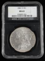 1882-O Morgan Silver Dollar - Black Core Holder (NGC MS63) at PristineAuction.com