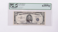 1953A $5 Blue Seal Silver Certificate Bank Note (PCGS Choice New 63 PPQ) at PristineAuction.com