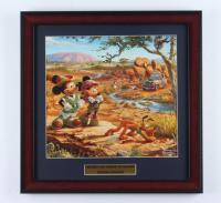 "Thomas Kinkade Walt Disney's ""Mickey and Minnie On Safari"" 16x16 Custom Framed Print Display at PristineAuction.com"